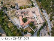 Купить «Aerial view of Castle of Abbey Sainte-Marie d'Orbieu in Lagrasse», фото № 29431669, снято 6 октября 2018 г. (c) Яков Филимонов / Фотобанк Лори