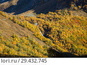 Купить «View of Chuchkhursky waterfall in mountain valley at autumn», фото № 29432745, снято 13 октября 2017 г. (c) Донцов Евгений Викторович / Фотобанк Лори
