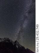 Купить «Night view of Ine peak and Dzhuguturluchat mountain», фото № 29432749, снято 13 октября 2017 г. (c) Донцов Евгений Викторович / Фотобанк Лори