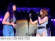 Купить «Vanessa Mai and influencer and singer Ana Lisa Kohler perform live at a concert during her 'Regenbogen Live 2018' tour at Tempodrom. Vanessa Mai invited...», фото № 29433733, снято 10 мая 2018 г. (c) age Fotostock / Фотобанк Лори