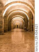 Купить «Арочная галерея с ночной подсветкой», фото № 29434621, снято 25 сентября 2015 г. (c) Евгений Ткачёв / Фотобанк Лори