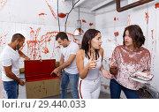 Купить «Scared girls with medical instruments in lost room», фото № 29440033, снято 8 октября 2018 г. (c) Яков Филимонов / Фотобанк Лори