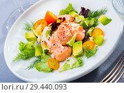 Купить «Fish ceviche with avocado, kumquat, dill», фото № 29440093, снято 22 августа 2019 г. (c) Яков Филимонов / Фотобанк Лори