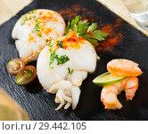 Купить «Roasted sepia served with shrimps», фото № 29442105, снято 18 января 2019 г. (c) Яков Филимонов / Фотобанк Лори
