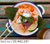 Купить «Top view of ceviche in Vietnamese style with coconut milk», фото № 29442241, снято 18 июля 2019 г. (c) Яков Филимонов / Фотобанк Лори