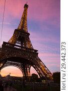 Купить «Bottom night view of Eiffel Tower», фото № 29442373, снято 9 октября 2018 г. (c) Яков Филимонов / Фотобанк Лори