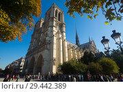 Купить «Cathedral of Notre-Dame, Paris», фото № 29442389, снято 10 октября 2018 г. (c) Яков Филимонов / Фотобанк Лори
