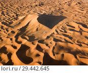 Купить «Aerial view on big sand dunes in desert», фото № 29442645, снято 14 февраля 2018 г. (c) Михаил Коханчиков / Фотобанк Лори