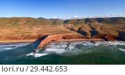 Купить «Legzira beach with arched rocks», фото № 29442653, снято 24 февраля 2018 г. (c) Михаил Коханчиков / Фотобанк Лори
