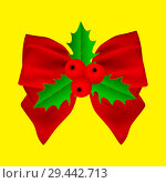 Купить «Red Christmas bow with holly on ribbon», иллюстрация № 29442713 (c) Мастепанов Павел / Фотобанк Лори