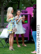 Купить «The cast of 'The Only Way Is Essex' filming a garden party scene at Colchester Castle Featuring: Amber Turner, Yasmin Oukhellou Where: Essex, United Kingdom When: 10 May 2018 Credit: WENN.com», фото № 29443973, снято 10 мая 2018 г. (c) age Fotostock / Фотобанк Лори