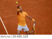 Купить «Rafael Nadal against Gael Monfils during day five of the Mutua Madrid Open tennis tournament at the Caja Magica on May 9, 2018 in Madrid, Spain. Featuring...», фото № 29445329, снято 9 мая 2018 г. (c) age Fotostock / Фотобанк Лори