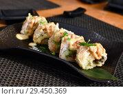 Купить «Baked rolls on table in a restaurant», фото № 29450369, снято 8 марта 2018 г. (c) Володина Ольга / Фотобанк Лори