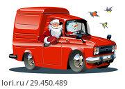 Купить «Cartoon retro New Year's van isolated on white background», иллюстрация № 29450489 (c) Александр Володин / Фотобанк Лори