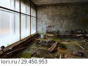 Купить «Заброшенный холл в МСЧ №126, покинутый город-призрак Припять, зона отчуждения ЧАЭС, Украина», фото № 29450953, снято 11 ноября 2018 г. (c) Ольга Коцюба / Фотобанк Лори