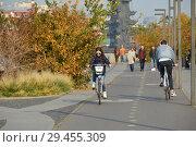 Купить «Велосипедисты едут по выделенной велодорожке на Крымской набережной в парке Музеон. Район Якиманка. Город Москва», эксклюзивное фото № 29455309, снято 19 октября 2018 г. (c) lana1501 / Фотобанк Лори