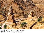 Купить «The medieval monastery of Noravank in Armenia. Was founded in 1205. Top view.», фото № 29455789, снято 23 сентября 2018 г. (c) Наталья Волкова / Фотобанк Лори