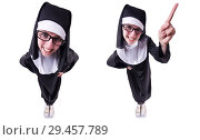 Купить «Funny nun isolated on the white background», фото № 29457789, снято 28 марта 2013 г. (c) Elnur / Фотобанк Лори