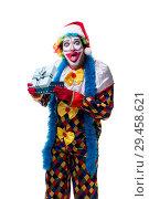 Купить «Young funny clown comedian isolated on white», фото № 29458621, снято 20 июля 2018 г. (c) Elnur / Фотобанк Лори