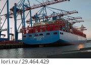 Купить «Гамбург, Германия. Вид на контейнерный терминал вечером», фото № 29464429, снято 3 ноября 2018 г. (c) Наталья Николаева / Фотобанк Лори
