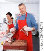 Купить «Smiling man and woman sellers working in shop», фото № 29464749, снято 22 июня 2018 г. (c) Яков Филимонов / Фотобанк Лори