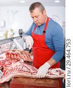 Купить «Serious seller splitting of pig carcass in shop», фото № 29464753, снято 22 июня 2018 г. (c) Яков Филимонов / Фотобанк Лори