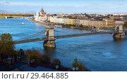 Купить «Image of view on Parliament and Chain Bridge in Budapest», фото № 29464885, снято 29 октября 2017 г. (c) Яков Филимонов / Фотобанк Лори