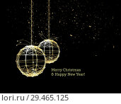 Купить «New Year's Christmas balls, on luminous golden ribbons, in the style of art deco. Geometric golden spheres, in the form of points connected by lines with glitters. Gold on dark style. Vector», иллюстрация № 29465125 (c) Павлов Максим / Фотобанк Лори