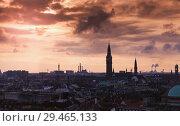 Купить «Dark silhouette skyline of Copenhagen», фото № 29465133, снято 10 декабря 2017 г. (c) EugeneSergeev / Фотобанк Лори