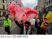 Купить «Annual May day march and rally at Trafalgar Square. The march and rally marks International Workers Day, which dates back to union struggles in the late...», фото № 29468433, снято 1 мая 2018 г. (c) age Fotostock / Фотобанк Лори