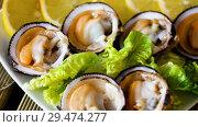 Raw bivalve shellfishes (European bittersweet) served with lemon on plate. Стоковое видео, видеограф Яков Филимонов / Фотобанк Лори