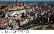 Купить «Aerial view of Lleida city with a apartment buildings and river, Spain», видеоролик № 29474465, снято 20 июня 2018 г. (c) Яков Филимонов / Фотобанк Лори