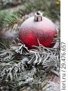 Купить «Christmas background on a wooden», фото № 29476657, снято 13 сентября 2017 г. (c) Типляшина Евгения / Фотобанк Лори