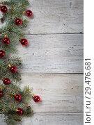 Купить «Christmas background on a wooden», фото № 29476681, снято 14 сентября 2017 г. (c) Типляшина Евгения / Фотобанк Лори