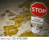 Купить «Stop illegal immigration concept. Sign stop on the map of Europe.», фото № 29478089, снято 27 марта 2019 г. (c) Maksym Yemelyanov / Фотобанк Лори