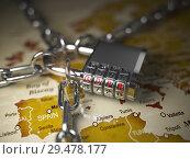 Купить «GDPR UA General Data Protection Regulation concept. Padlock with GDPR code on the map of Europe.», фото № 29478177, снято 22 марта 2019 г. (c) Maksym Yemelyanov / Фотобанк Лори