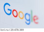 Купить «Логотип Google на экране планшета (крупный план)», фото № 29478389, снято 26 ноября 2018 г. (c) Екатерина Овсянникова / Фотобанк Лори