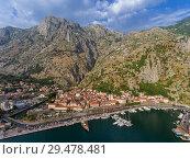 Купить «Aerial view of Bay of Kotor», фото № 29478481, снято 1 июля 2017 г. (c) Михаил Коханчиков / Фотобанк Лори