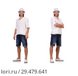 Young man in hat isolated on white. Стоковое фото, фотограф Elnur / Фотобанк Лори