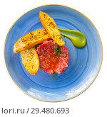 Купить «Fresh veal tartar served with bruschetta», фото № 29480693, снято 13 декабря 2019 г. (c) Яков Филимонов / Фотобанк Лори