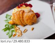 Купить «Camembert on mini croissant with jam, pine nuts», фото № 29480833, снято 23 июля 2019 г. (c) Яков Филимонов / Фотобанк Лори
