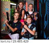 Купить «Teen kids with laser guns», фото № 29485429, снято 15 октября 2019 г. (c) Яков Филимонов / Фотобанк Лори