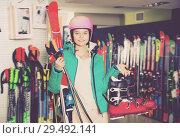 Купить «Pretty girl in skiing outfit», фото № 29492141, снято 6 февраля 2018 г. (c) Яков Филимонов / Фотобанк Лори
