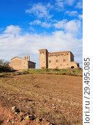 Castel and Santa Anna church of Montcortes de Segarra, LLeida province, Catalonia, Spain. Стоковое фото, фотограф Josep Curto / age Fotostock / Фотобанк Лори