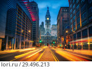 Купить «Philadelphia's City Hall at dusk», фото № 29496213, снято 30 ноября 2015 г. (c) Sergey Borisov / Фотобанк Лори