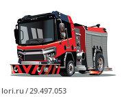 Купить «Vector cartoon firetruck isolated on white background», иллюстрация № 29497053 (c) Александр Володин / Фотобанк Лори