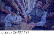 Купить «Warehouse Composition People working n the warehouse combined with animation of connectio», видеоролик № 29497197, снято 14 декабря 2018 г. (c) Wavebreak Media / Фотобанк Лори