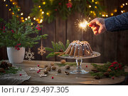 Купить «male hand sets fire to sparkler on christmas cake», фото № 29497305, снято 25 ноября 2018 г. (c) Майя Крученкова / Фотобанк Лори