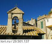 Купить «Bell tower, Anguillaro Sabazia, Lazio Region, Italy.», фото № 29501137, снято 27 сентября 2018 г. (c) age Fotostock / Фотобанк Лори