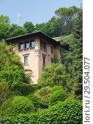 The Flag Of Bergamo and Upper town of Bergamo, Italy (2014 год). Стоковое фото, фотограф Виталий Батанов / Фотобанк Лори